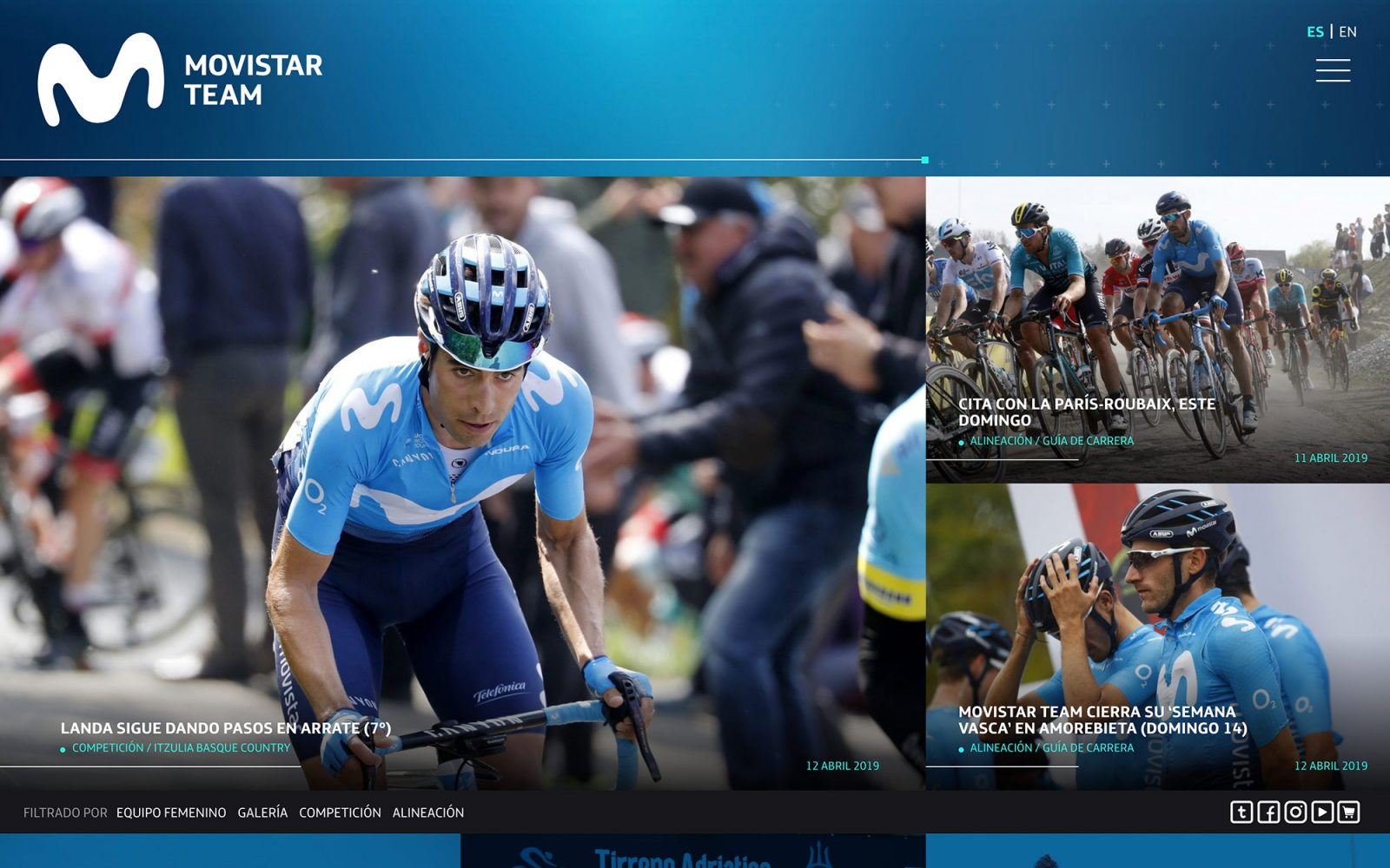 Web para el Movistar Team